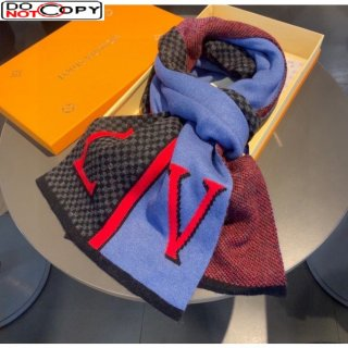 Louis Vuitton Damier Cashmere Long Scarf for Men Blue/Black