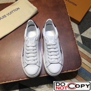 Louis Vuitton Logo Embroidered Time Out Sneaker 1A3U3A White Blue