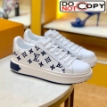 Louis Vuitton Time Out Low-top Sneakers in Monogram Embroidered Calfskin White/Blue