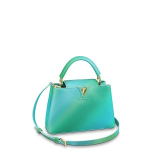 Louis Vuitton Colorful Candy Edition Taurillon Leather Capucines BB Top Handle Bag M55375 Green/Blue