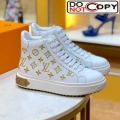 Louis Vuitton Time Out High-top Sneakers in Monogram Embroidered Calfskin White/Gold
