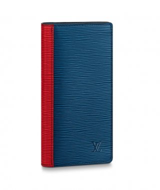 Louis Vuitton Men's Brazza Wallet in Epi Leather M68718 Blue/Red/Green