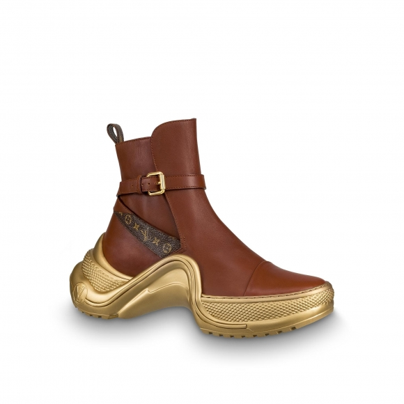 Louis Vuitton Archlight Leather Short Sneaker Boots Brown Monogram Gold