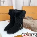 Louis Vuitton Black Suede Snow Boot With Wool