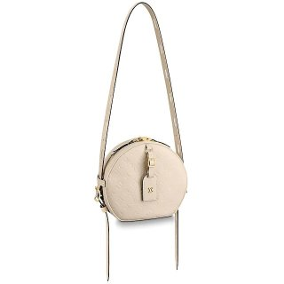 Louis Vuitton Boite Chapeau Souple MM Bag in Monogram Embossed Leather M45276 Cream Beige