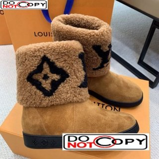 Louis Vuitton Calfskin Suede and Wool Flat Short Boots Brown