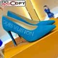Louis Vuitton Call Back Suede Crystal Signature High Heel Pump 1A5L0M Turquoise Blue