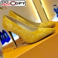 Louis Vuitton Call Back Suede Crystal Signature High Heel Pump 1A5L0M Yellow