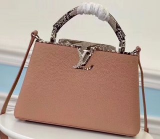 Louis Vuitton Capucines BB Bag Python Handle and Flap Nude Pink
