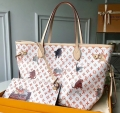 Louis Vuitton Catogram Monogram Canvas Neverfull MM Tote Bag M44459 White