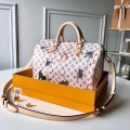Louis Vuitton Catogram Monogram Canvas Speedy 30 Bandouliere Bag M44400 White