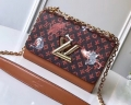 Louis Vuitton Catogram Monogram Canvas Twist MM Bag M44408 Brown