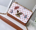 Louis Vuitton Catogram Monogram Canvas Twist MM Bag M44408 White-Brown