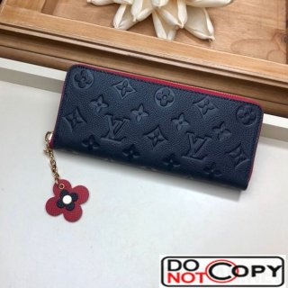 Louis Vuitton Clemence Wallet in Monogram Empreinte Leather M64161 Navy Blue Red
