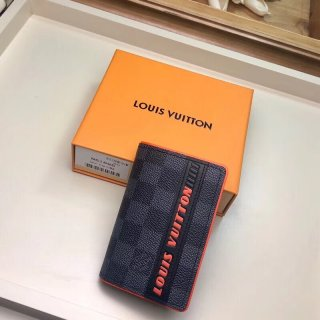 Louis Vuitton Damier Cobalt Canvas Pocket Organizer Wallet N63210 Orange Logo