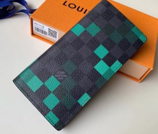 Louis Vuitton Damier Graphite Pixel Canvas Brazza Wallet N60161 Green