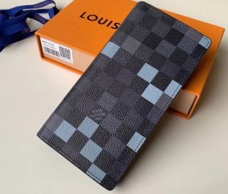 Louis Vuitton Damier Graphite Pixel Canvas Brazza Wallet N60163 Gray