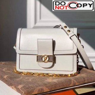 Louis Vuitton Dauphine MM Smooth Leather Shoulder Bag M55735 White