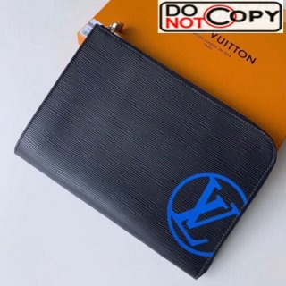 Louis Vuitton Epi Leather Pochette Jour PM Pouch With Oversized LV M62646 Blue