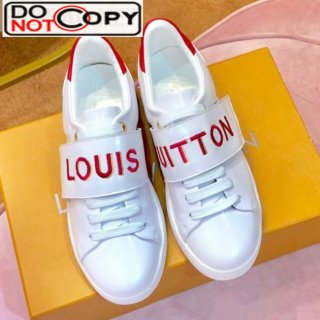 Louis Vuitton Frontrow Logo Strap Sneakers 1A4VSM White Red