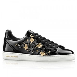 Louis Vuitton Frontrow Sneaker In Black Leather With Flowers