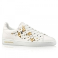 Louis Vuitton Frontrow Sneaker In White Leather With Flowers
