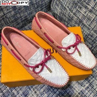 Louis Vuitton Gloria Monogram Leather Flat Loafer Pink