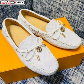Louis Vuitton Gloria Monogram Leather Flat Loafer White