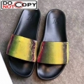 Louis Vuitton Iridescent Monogram Slide Sandals Black