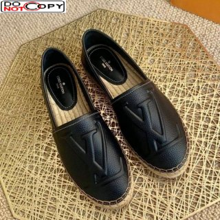 Louis Vuitton LV Grained Leather Espadrilles Black