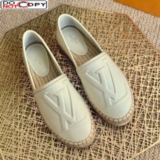 Louis Vuitton LV Grained Leather Espadrilles White