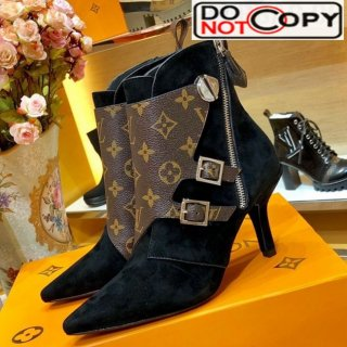 Louis Vuitton LV Janet Suede High Heel Ankle Short Boot Black Monogram
