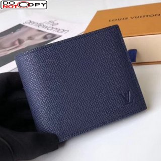 Louis Vuitton Men's Amerigo Wallet in Blue Grained Leather M62045