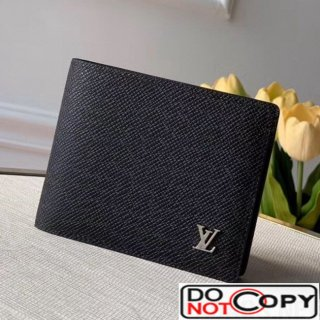 Louis Vuitton Men's Grained Leather Multiple Wallet with Silver LV Emblem M30293 Black