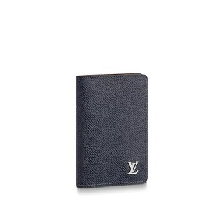 Louis Vuitton Men's Grained Leather Pocket Organizer Wallet with Silver LV Emblem M30293 Black