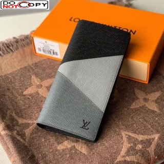 Louis Vuitton Men's Brazza Wallet in V Patchwork Grained Leather M30715 Grey