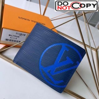 Louis Vuitton Men's Epi Leather Multiple Wallet With Oversized LV M67908 Blue