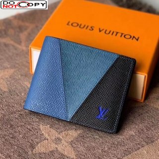 Louis Vuitton Men's Multiple Wallet in V Patchwork Grained Leather M63261 Blue