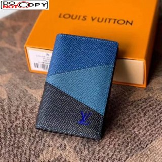 Louis Vuitton Men's Pocket Organizer Wallet in V Patchwork Grained Leather M30709 Blue