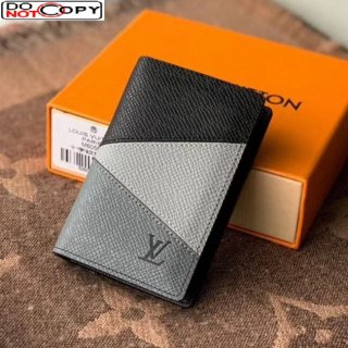 Louis Vuitton Men's Pocket Organizer Wallet in V Patchwork Grained Leather M30729 Grey