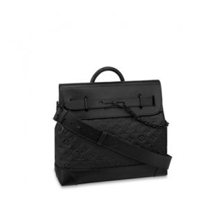 Louis Vuitton Men's Steamer PM Messenger Bag in Monogram Embossed Leather M55701 Black