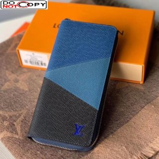 Louis Vuitton Men's Zippy Wallet in V Patchwork Grained Leather M63095 Blue