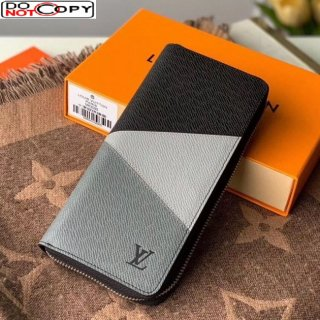 Louis Vuitton Men's Zippy Wallet in V Patchwork Grained Leather M63095 Grey