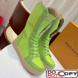 Louis Vuitton Monogram Glaze Canvas Sneaker Boot with Fur Fluorescence