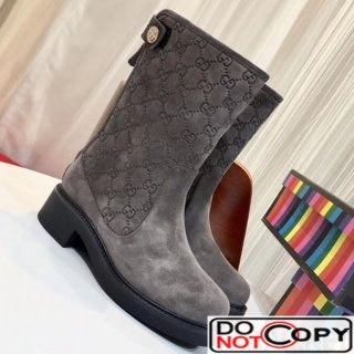 Louis Vuitton Monogram Suede Leather Short Boot Grey