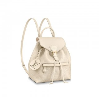 Louis Vuitton Montsouris Backpack in Monogram Embossed Leather M45397 Cream White
