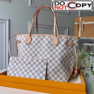 Louis Vuitton Neverfull MM Damier Azur Canvas Tote Bag N41605 Pink