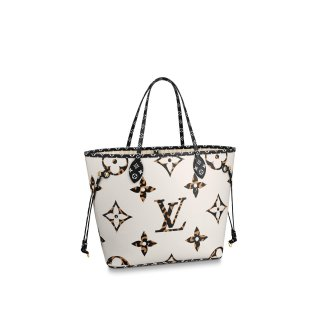 Louis Vuitton Neverfull MM Tote Bag in Animal Print Monogram M44716 White