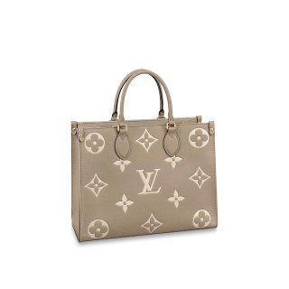 Louis Vuitton OnTheGo MM Tote Bag in Monogram Leather M45494 Gray