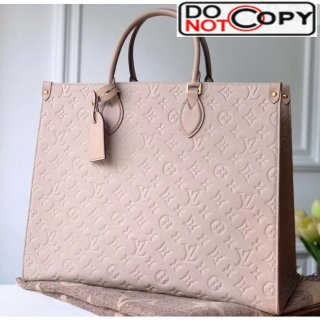 Louis Vuitton Onthego Monogram Embossed Leather Large Tote M44923 Nude